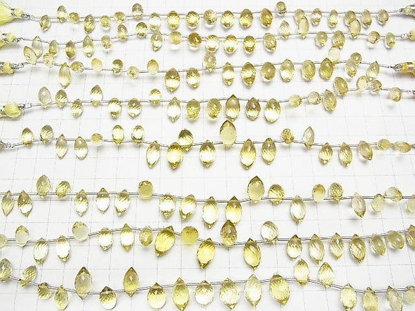 High Quality Lemon Quartz AAA Marquise Rice  Faceted Briolette  half or 1strand (aprx.7inch/17cm)