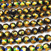 Lampwork Beads Round 10mm [Yellow x Blue] 1/4 or strand (aprx.15inch / 36cm)
