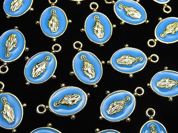 Metal Parts Charm 18x13mm Miraculous Medal Blue 1pc $1.79!