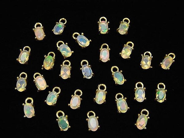 High Quality Ethiopia Opal AAA Bezel Setting Oval Faceted 5x3mm 18KGP 2pcs $8.79!