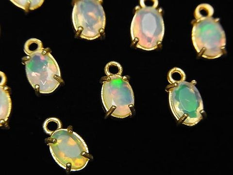 High Quality Ethiopia Opal AAA Bezel Setting Oval Faceted 6x4mm 18KGP 2pcs $13.99!