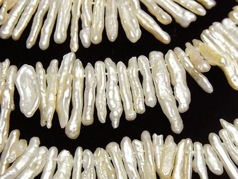 1strand $26.99! Fresh Water Pearl, Keshi Pearl Stick Off White Top Side Drilled Hole 1strand (aprx.14inch / 34cm)