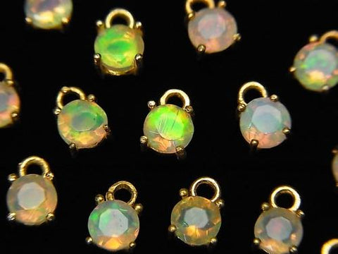High Quality Ethiopia Opal AAA Bezel Setting Round Faceted 4x4mm 18KGP 2pcs $8.79!