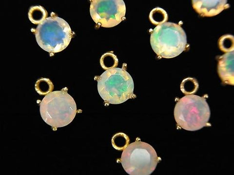 High Quality Ethiopia Opal AAA Bezel Setting Round Faceted 5x5mm 18KGP 2pcs $11.79!