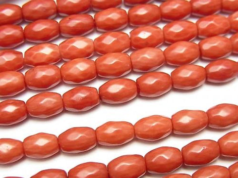 1strand $7.79!, Red Coral (Dyed) Faceted Rice 7x5x5mm 1strand (aprx.15inch / 37cm)
