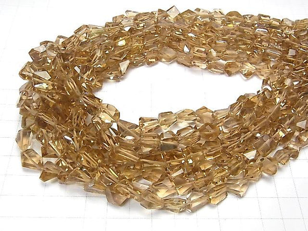 High Quality Natutal Champagne Color Quartz AAA Faceted Nugget  half or 1strand (aprx.17inch/42cm)
