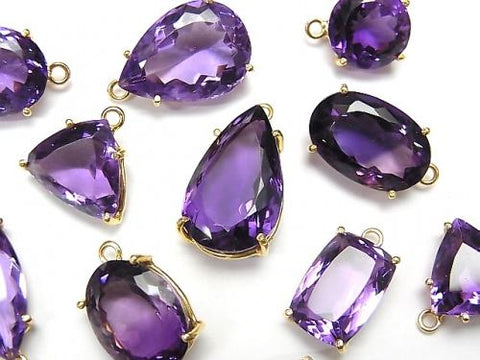 High Quality Amethyst AAA- Bezel Setting Free Form Cut  18KGP 2pcs $19.99!