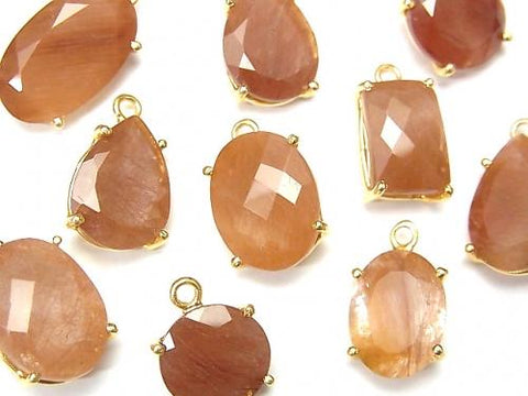 High Quality Orange Rutilated Quartz AAA- Bezel Setting Free Form Cut 18KGP 3pcs $9.79