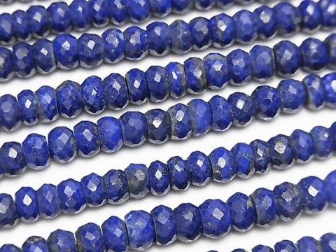 Lapislazuli AA++ Faceted Button Roundel  half or 1strand (aprx.15inch/38cm)