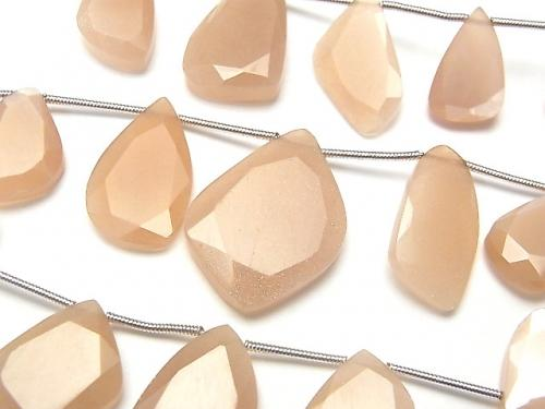 1strand $19.99 Peach Moon Stone AA ++ Slice Faceted Nugget 1strand (9pcs).
