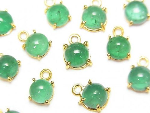 Brazil High Quality Emerald AAA Bezel Setting Round 5.5-6mm 18KGP 1pc $29.99!