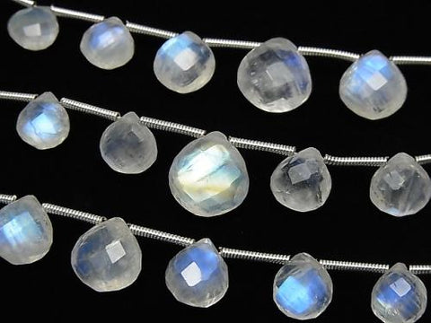 1strand $24.99! High Quality Rainbow Moon Stone AAA- Chestnut Faceted Briolette 1strand (13pcs).