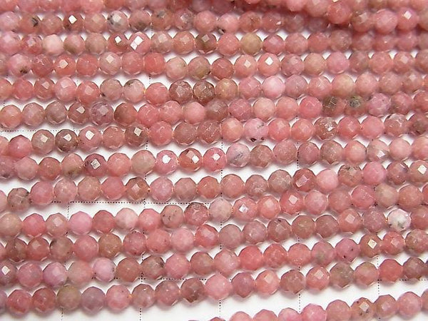 High Quality!  1strand $7.79! Rhodonite AA++ Faceted Round 3mm  1strand (aprx.15inch/38cm)