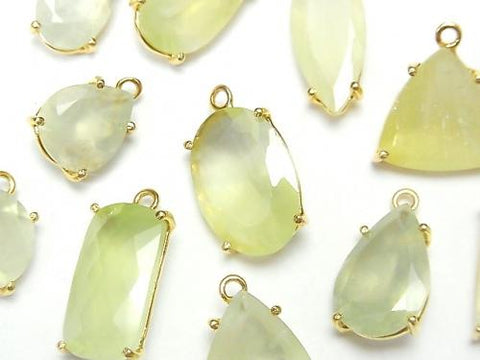 High Quality Prehnite AAA- Bezel Setting Free Form Cut  18KGP 2pcs $29.99