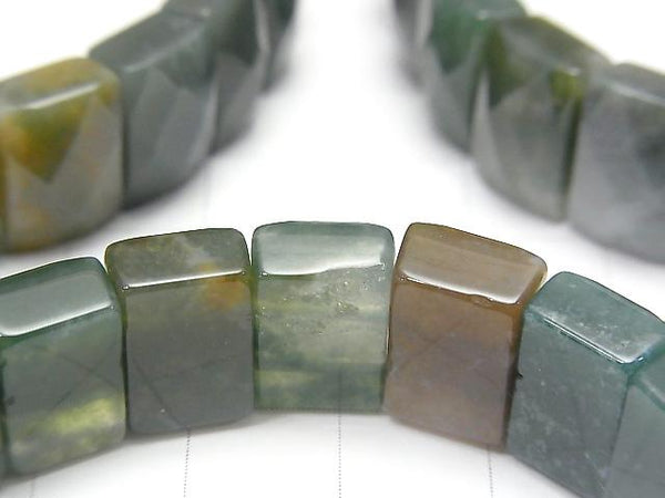 1strand $16.99! Moss Agate 2 holes Faceted Rectangle 12x8x6mm 1strand (Bracelet)