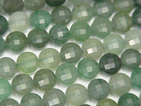 High Quality! 1strand $5.79! Green Aventurine Faceted Coin 6x6x4.5mm 1strand (aprx.15inch / 37cm)