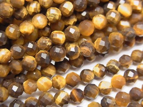 High Quality! 1strand $5.79! Yellow Tiger Eye AA ++ Faceted Round 4mm 1strand (aprx.15inch / 37cm)