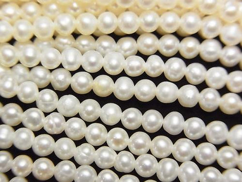 1strand $11.79! Fresh Water Pearl AA ++ Potato 3mm White 1strand (aprx.15inch / 36cm)