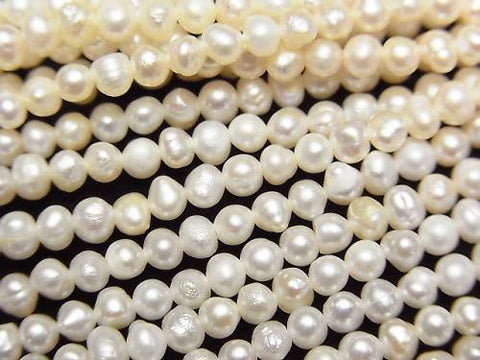 1strand $4.79! Fresh Water Pearl AA White Potato 3mm 1strand (aprx.14inch / 34cm)