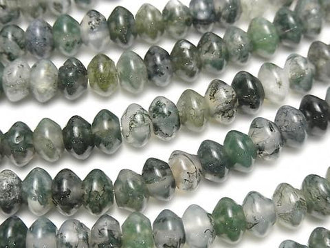 1strand $5.79! Moss Agate AAA- Roundel 8x8x5mm 1strand (aprx.15inch/36cm)