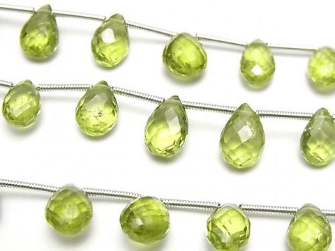 1strand $29.99! High Quality Peridot AAA- Pear shape  Faceted Briolette  1strand (15pcs )