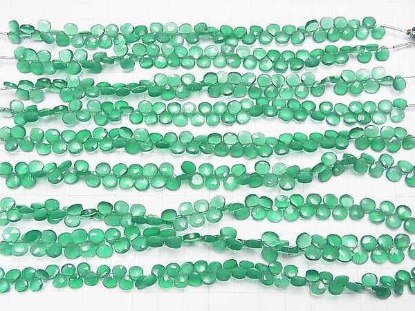 1strand $16.99 High Quality Green Onyx AAA Chestnut Faceted Briolette 1strand (aprx.6inch/16cm)