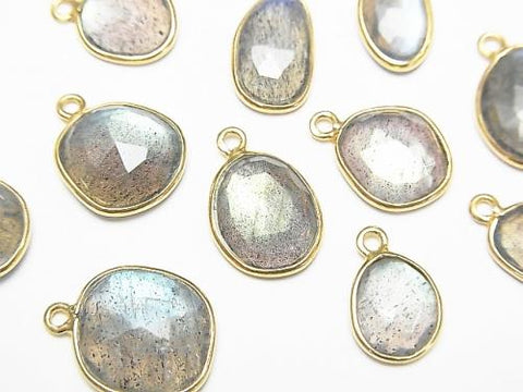 High Quality Labradorite AAA Bezel Setting Rose Cut [Freeform] [One Side] [M size] 18KGP 3pcs $9.79!