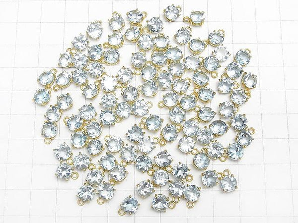 High Quality Sky Blue Topaz AAA Bezel Setting Round Faceted 6x6mm 18KGP 2pcs $5.79!