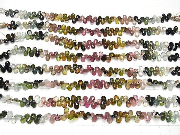 High Quality Multi Color Tourmaline AA++ Pear shape Faceted Briolette half or 1strand (aprx.7inch/18cm)