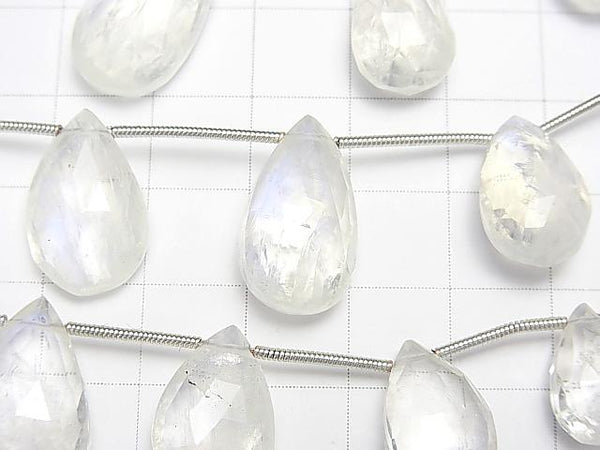 1strand $64.99! High Quality Rainbow Moon Stone AAA- Pear shape Faceted Briolette 1strand (9pcs ).