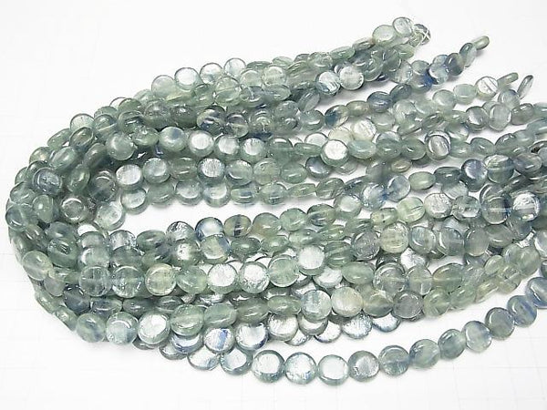 Tanzania Kyanite AA Coin 10x10x4mm [Green] half or 1strand (aprx.15inch/36cm)