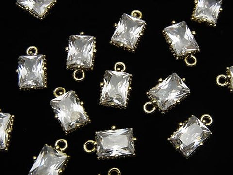 Metal Parts Rectangle Faceted Charm 8x6mm Gold Color with CZ 2pcs $2.99!