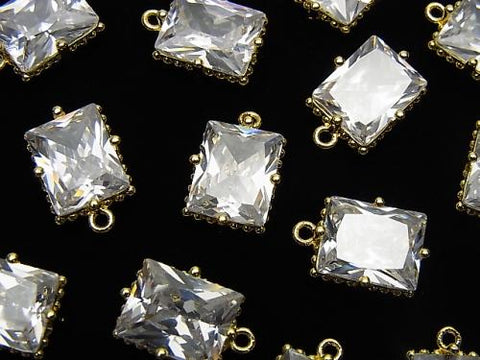 Metal Parts Rectangle Faceted Charm 12x10mm Gold Color with CZ 2pcs $3.79!