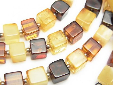 1strand $89.99! Baltic Amber Cube 6x6x6mm Multi Color 1strand (Necklace)