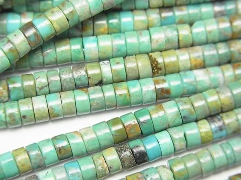 Turquoise AA+ Tube (Roundel )4x4x2mm half or 1strand (aprx.15inch/38cm)
