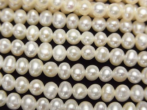 1strand $7.79! Fresh Water Pearl AA++ White Potato 4-4.5mm 1strand (aprx.15inch/36cm)