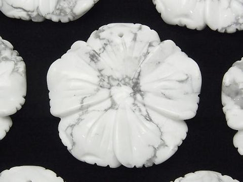 Howlite Magnesite Flower 40x40x8mm 1pc $5.79!