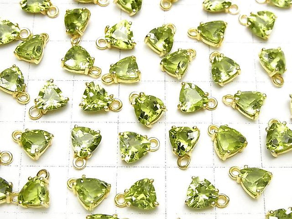 High Quality Peridot AAA Bezel Setting Triangle Faceted 6x6mm 18KGP 2pcs $7.79!