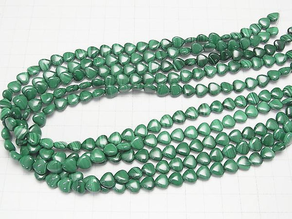 Malachite AAA Vertical Hole Heart Shape 8x8x3mm [Light Color] half or 1strand (aprx.15inch/37cm)