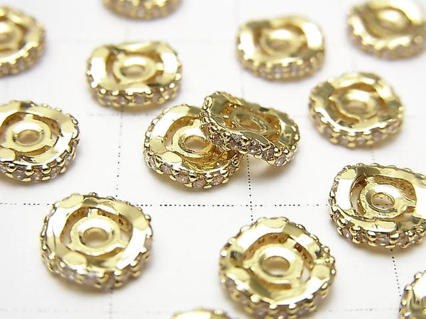 Metal Parts Roundel 8x8x2mm Gold with CZ 2pcs $2.99!