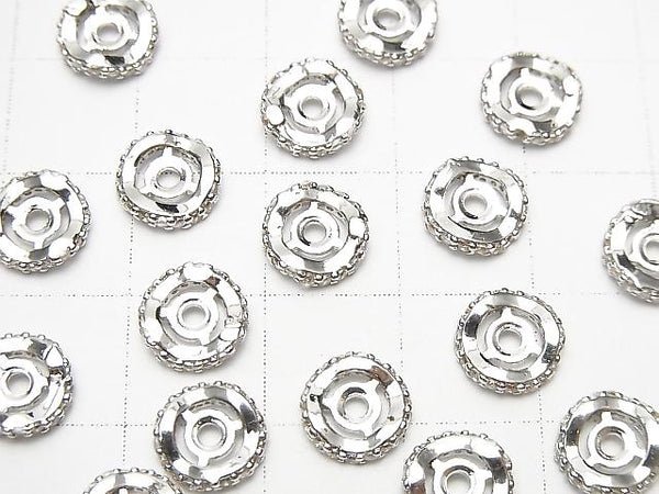 Metal Parts Roundel 8x8x2mm Silver with CZ 2pcs $2.99!