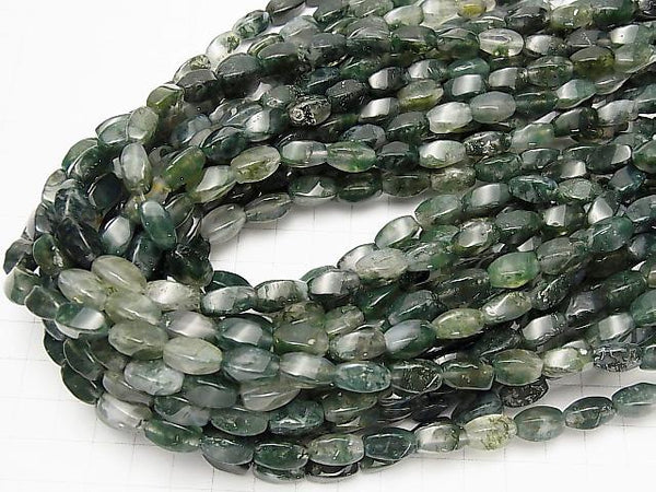 1strand $8.79! Moss Agate  4Faceted Twist Faceted Rice 12x8mm 1strand (aprx.15inch/37cm)