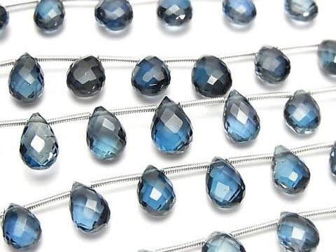 High Quality London Blue Topaz AAA Pear shape Faceted Briolette half or 1strand (14pcs ).