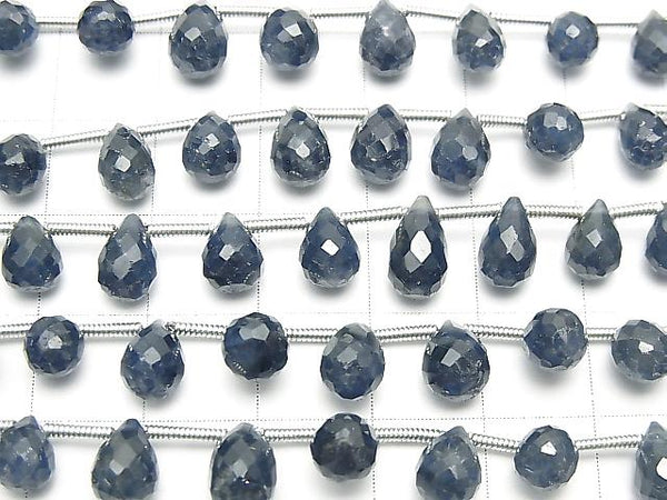Unheated Blue Sapphire AAA Drop Faceted Briolette half or 1strand (aprx.7inch/18cm)