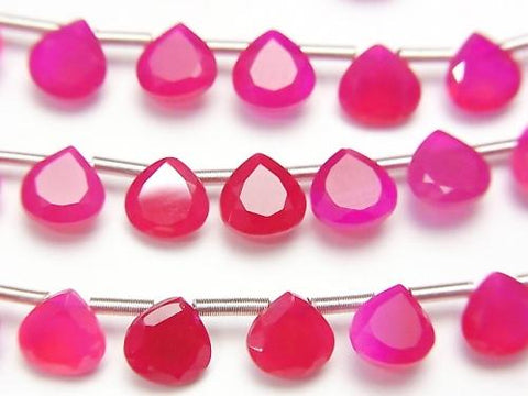 1strand $9.79! High Quality Fuchsia Pink Chalcedony AAA Chestnut Faceted 6x6mm 1strand (18pcs ).