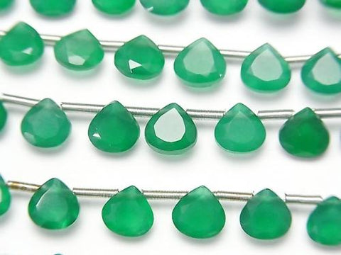 1strand $9.79! High Quality Green Onyx AAA Chestnut Faceted 6x6mm 1strand (18pcs ).