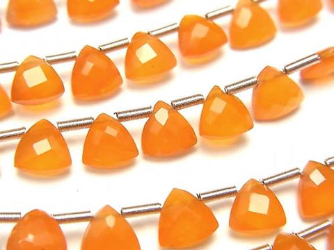 High Quality Cornelian AAA Triangle  Faceted Briolette 6x6mm half or 1strand (28pcs )