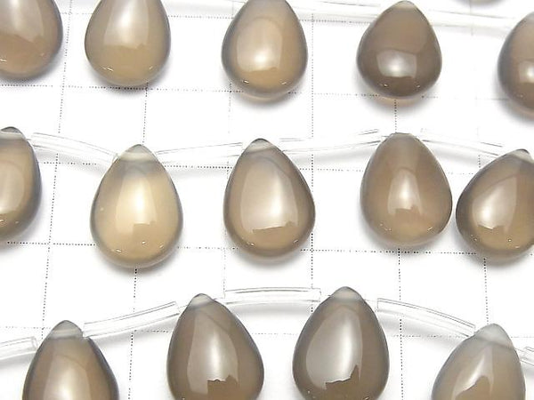 Gray Onyx AAA Pear shape (Smooth) 14x10mm half or 1strand (aprx.15inch/37cm)