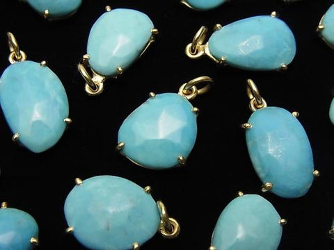 Arizona Sleeping Beauty Turquoise AAA- Bezel Setting Free Form Cut 18KGP 2pcs $29.99!