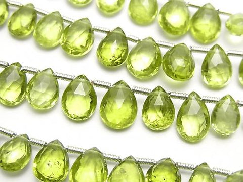 1strand $29.99! High Quality Peridot AAA Pear shape  Faceted Briolette  1strand (13pcs )